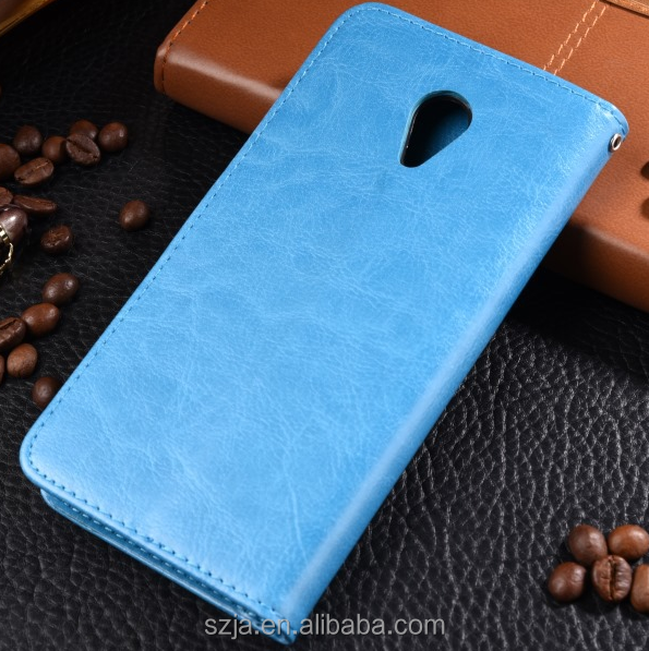 Custom leather mobile phone case for Charm blue note 5 crazy horse PU wallet case fou meizu note 5