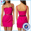 Yihao 2015 new fashion new style ladies clothing strap sexy hot pink one piece girls party dresses for wmen