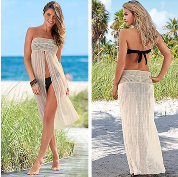 two ways use beach skirt dress crochet front slit pareo