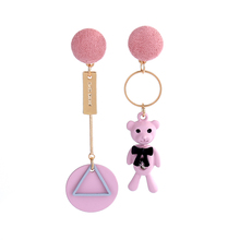 Korean version of the cute cartoon bear asymmetric earrings personalized triangular circle tassel long earrings female