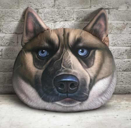 Wholesale customized 3D printing dog design short plush digital printed back support cushion