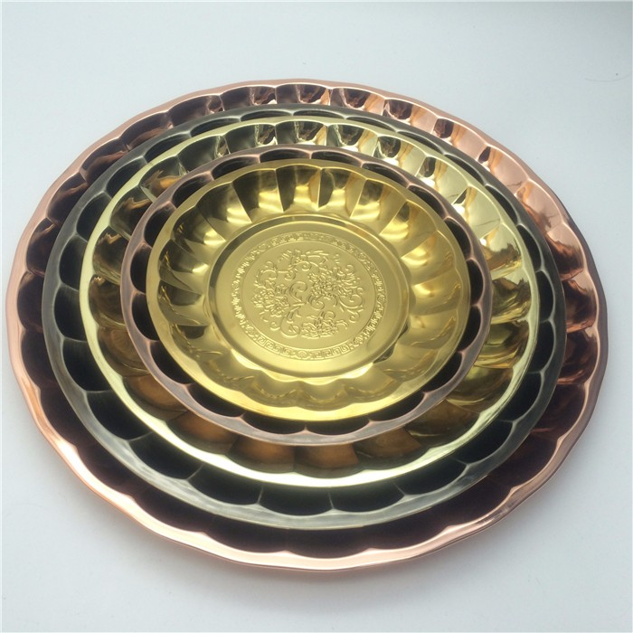 45cm stainless steel metal dry fruit decoration tray fruit tray