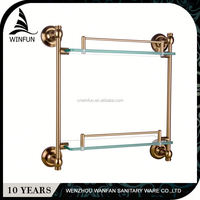 2 hours replied factory directly bathroom 2 tier glass shelf