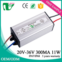 36V 11W waterproof constant current dimming led driver for led street light