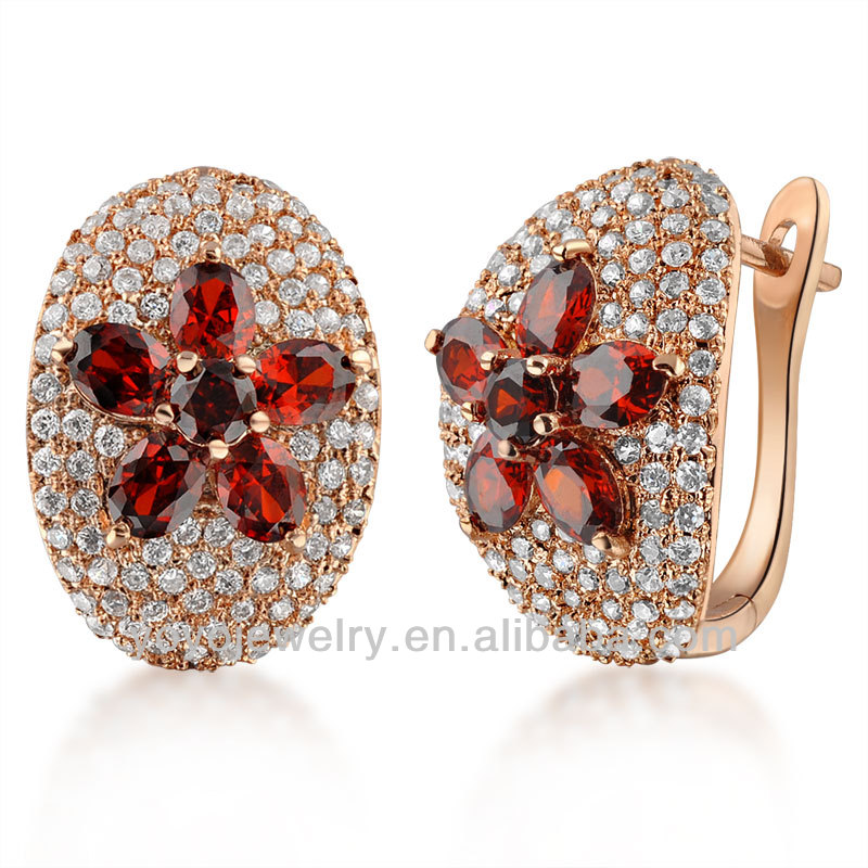 jewellery designs gold plated fashion crystal flower indian clip on earrings