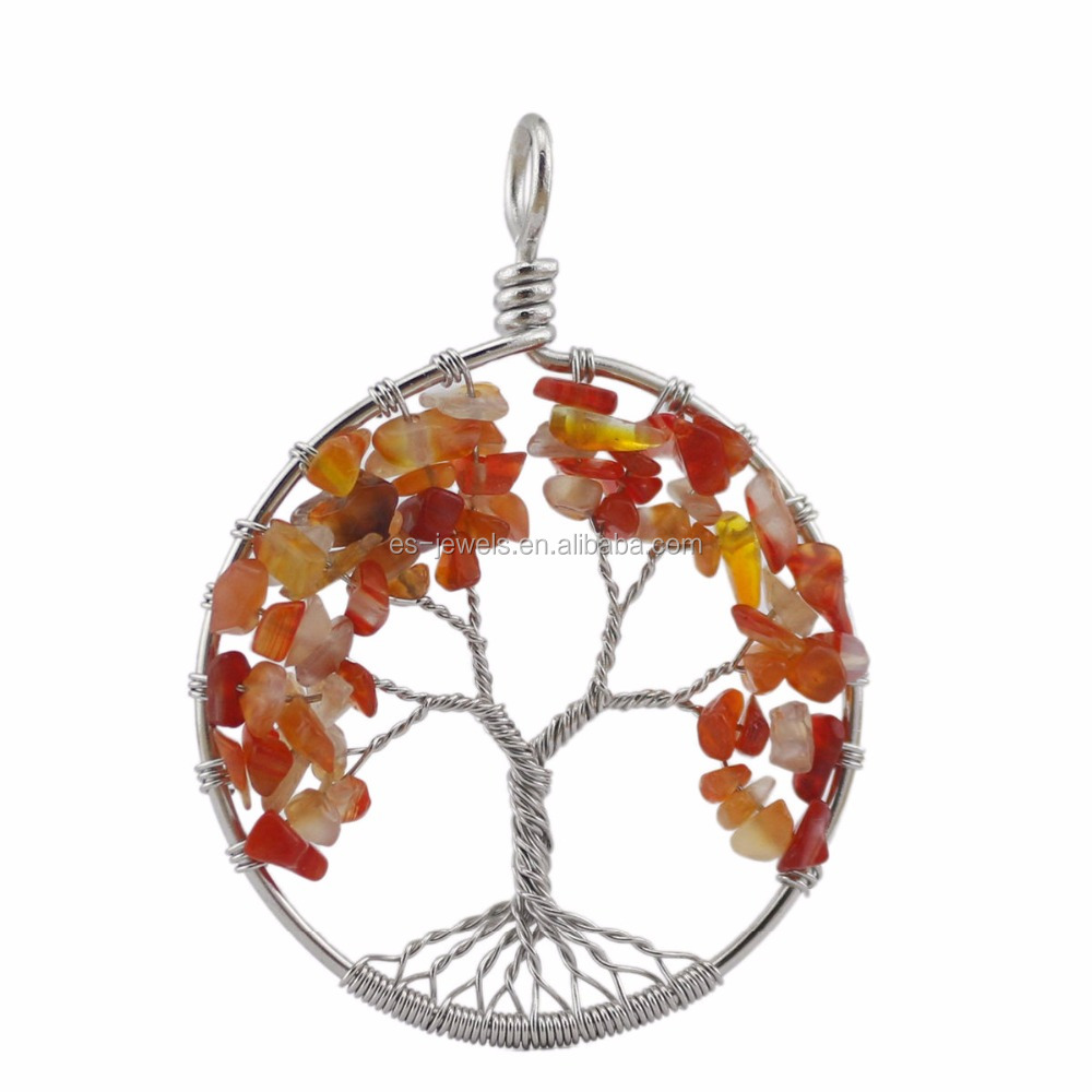 Tree of Life Pendant Natural Gemstone Jade Pendant Necklace with 50cm Chain