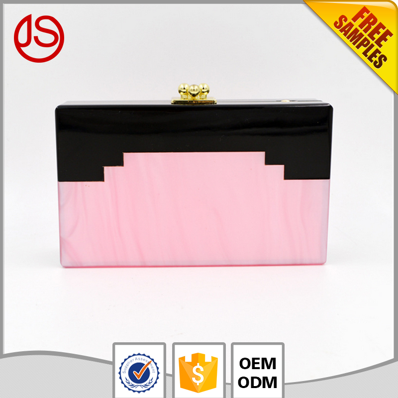 Simple Personalized Purses and Handbags 2017 Acrylic Women Clutch Hand Bags With Box Metal Frame
