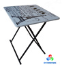 Fashional folding metal and wood table with design printing top