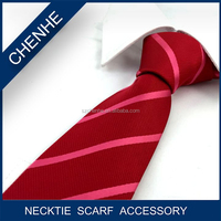 Good Quality Red Stripe 100% Polyester OEM 2015 Necktie Men