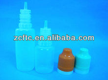 PE dropper bottle with long thin tip, double safety cap with triangle mark