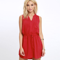 Z&M Women red dress dress stitching designs new fashion ladies dress