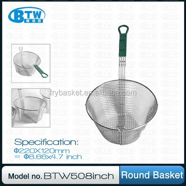 Canteen Nickel-plated Round Metal French Fries Basket