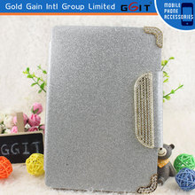 For iPad mini 2 Luxury Wallet Flip Magnetic Glitter Coated Bling Rhinestones Diamonds Leather Case Cover (Silver)