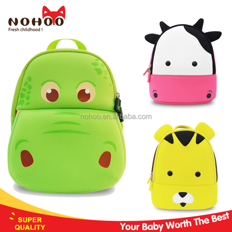 China products 3D cartoon character kids school bag lowest price nohoo hippo style
