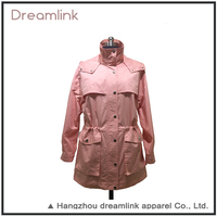 Different types Pink Thin fashion Hooded 100% Polyester Trench Coat for Custom