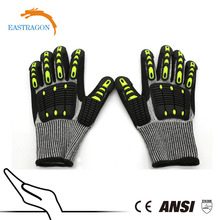 anti cut 13 gauge black nylon white glass fibre nitrile glove/ safety glove