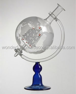 850ML Whiskey Decorative Etched Glass Globe Decanter for Spirits or Wine With Etched Globe Whisky glasses
