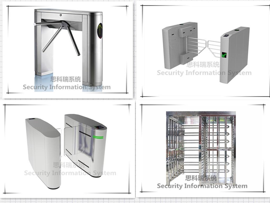 Revolving door full height turnstile gate with biometric