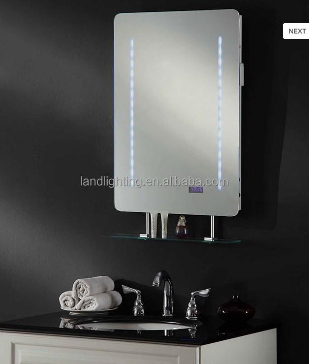 Backlit Illuminated Bathroom Led Mirror With Digital Clock Ce Rohs Approved Buy Bathroom Wall