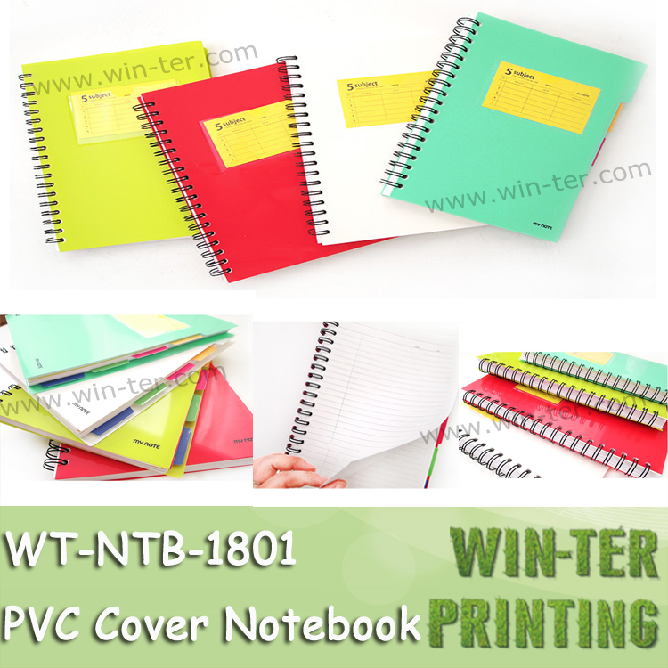 WT-NTB-1801 Plastic cover spiral notebook with color index tab