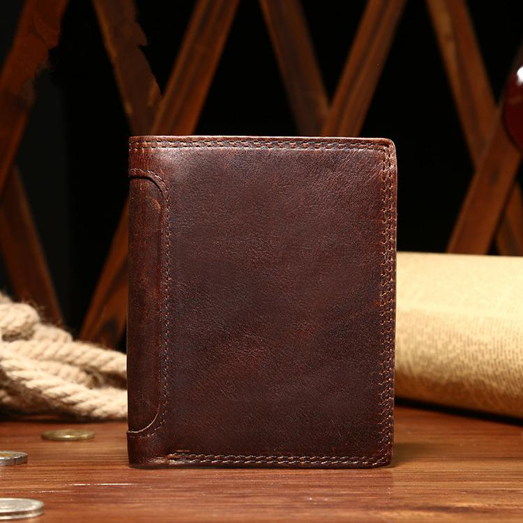 New design crazy horse genuine leather men's wallet Guangzhou Factory