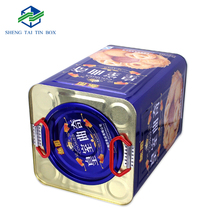 Wholesale square cookie tin box egg rolls packaging box with handle large tin can