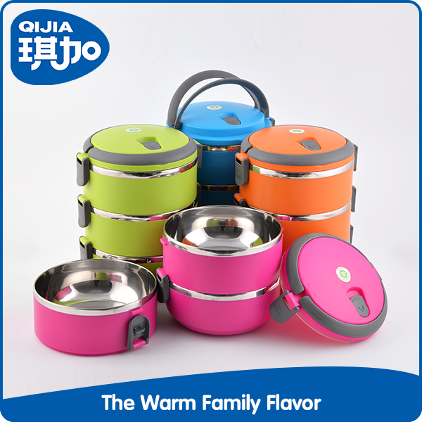 Best family gift 3-layer multi-user colorful round container box