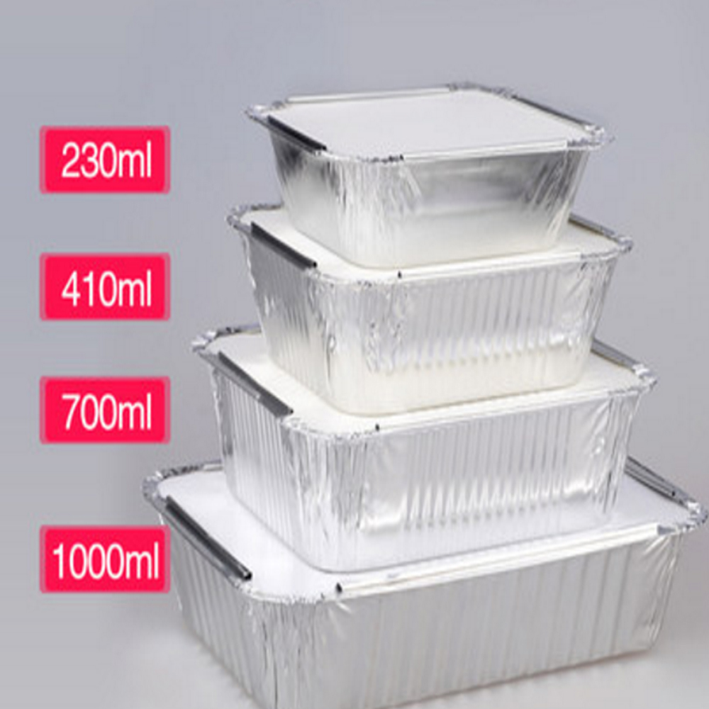 Hard Silver Cheap Disposable Household Catering Round Aluminum Foil Food Container With Plastic Dome Lid