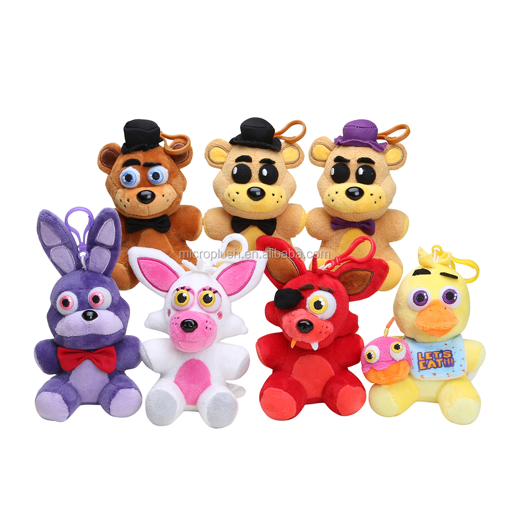14cm Five Nights At Freddy's 4 FNAF Chica Bonnie Freddy Foxy pendant keychain Kids Dolls
