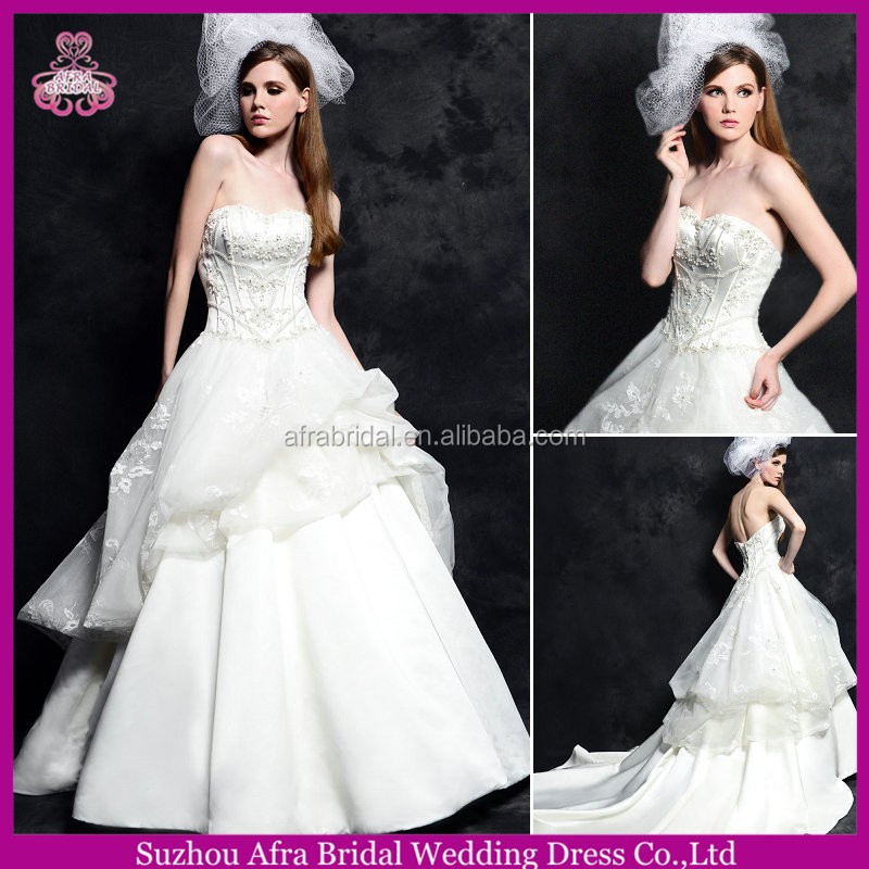 SD1564 sweetheart satin long tail wedding gowns bohemian style wedding dresses