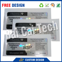 Cheap price fast delivery free sample pharmaceutical vial bottle label,plastic bottle label