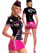 Fashion Women 2015 Black And Pink Late Top And Mini Skirts Stewardess Uniform Fetish Rubber Costumes Plus Size Hot Sale