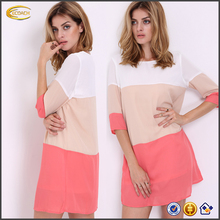 Ecoach 2016 Newest High Quality White Half Sleeve High Low Color Block 100% Polyester Casual Chiffon Dress For Women