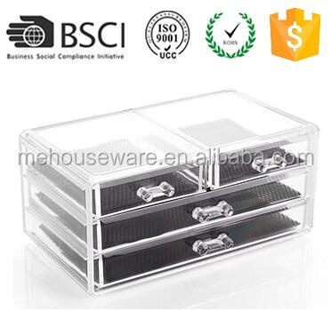 M&E Girls Acrylic Stackable Drawers Box Plastic Jewelry Box Drawers