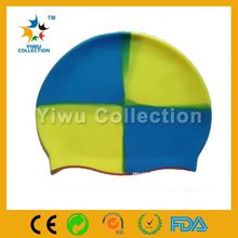blue car swim cap,ladies facekini,seamless round silicone swimming cap