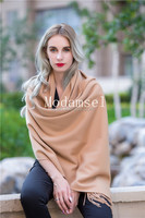 women wear camel color fashion cashmere shawl poncho