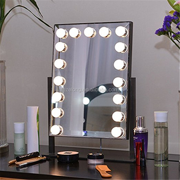LED fashion beauty portable desktop bulbs makeup mirror in dark