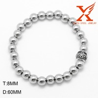 2016 Fashion jewelry Elegant Rhodium Color Women Stainless Steel Bead Bracelet For Women Girls