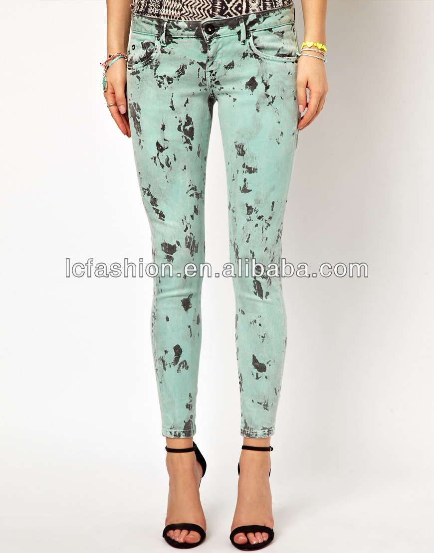Ladies Jeans Of Printed Skinny Show Body Candy Color Pant