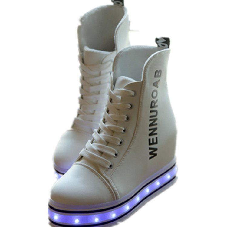 Wedge Heel Women LED Light Up Shoes Sneakers UK To US Shoe Size