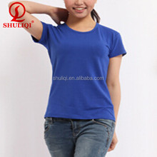 wholesale t shirts cheap 100% cotton round neck t shirts for women in bulk plain