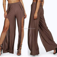 European Style Fashion Pants Women Fold-over Flare Wide Leg Slinky Pants Boho Wrap Bralet Palazzo Pants With Front Slit Sex