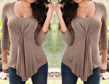 Excellent quality low price summer long sleeve lady o neck t shirt
