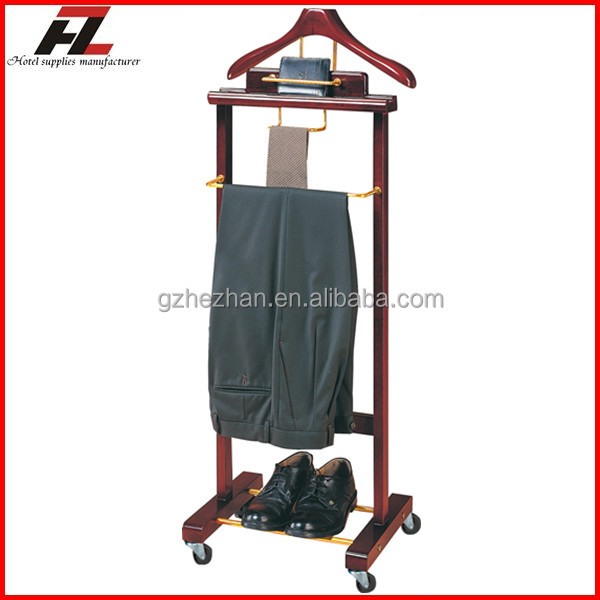 Mobile Men Suit Valet Stands with Four Casters / Clothes Valet Stands
