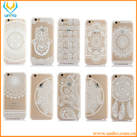 10 patterns White Floral Paisley Flower Clear Durable PC Hard Case for iPhone 6