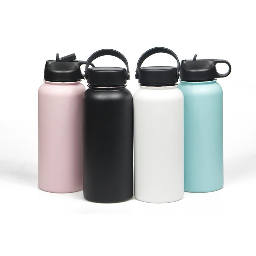 Stainless Steel Water Bottle w/Straw & Wide Mouth Lids (40oz 32oz 24oz 18oz) Keeps Liquids Hot or Cold With Handle