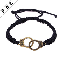 2017 Hot Sale Bulk Custom Handcuff Waxed Cotton Cord Bracelet for Men