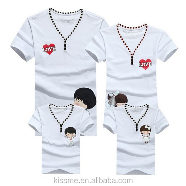 2012 new fashion spring & summer hot selling casual printing knitted cotton T shirt for family and lover