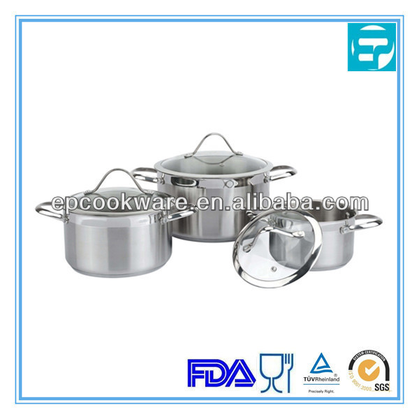 6Pcs Stainless Steel casserole With Steel Handle