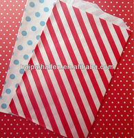Itty Bitty red and white Diagonal Stripe treat favor Bags for wedding